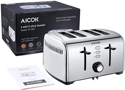 aicok 4 slots bagel toaster package includes