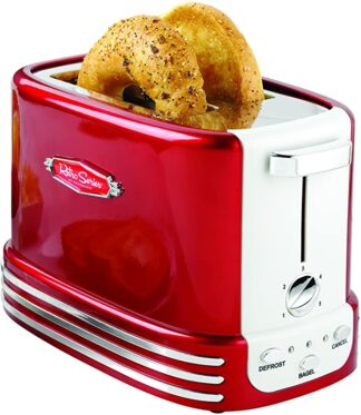 nostalgia wide 2 slices bagel toaster retro red