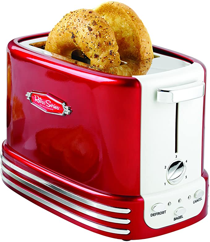 nostalgia wide 2 slices bagel toaster retro red